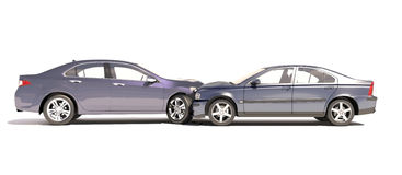 Two cars in an accident isolated on white. Two cars in an accident isolated on a white background Stock Images