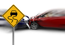 Two cars accident with a yellow sign Stock Images