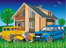 Two cars on the background of the cottage Royalty Free Stock Images