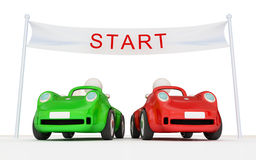 Two cars on the beginning of the road. Stock Photo