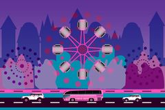 Two cars, bus and ferris wheel on city background vector illustration