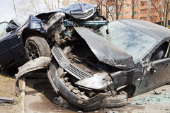 Two cars car broken during road accident Royalty Free Stock Image
