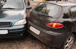 Two cars crash. Each other Stock Image