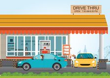 Two cars getting Food at a Drive Thru Restaurant. Royalty Free Stock Photo