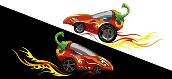 Two cars made of chili peppers on a counter background. Children`s drawing with a cartoon car made of pepper vector illustration