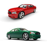 Two Cars - Red And Green Royalty Free Stock Photo