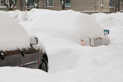 Two cars under the snow Stock Photography