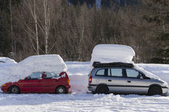 Two cars under snow. Chamonix, France Stock Photo