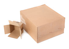 Two carton boxes on white Stock Images