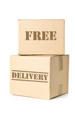 Two carton parcels with Free Delivery imprint Royalty Free Stock Images