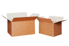 Two cartons of different sizes isolated on white Stock Photo