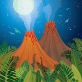 Prehistoric nature landscape - volcanoes, dinosaurs, fern. Royalty Free Stock Photography