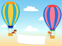 Two cartoon aerostat with advertisment banner. Vector illustration. Two cartoon aerostat in the sky with advertisment banner Royalty Free Stock Photography