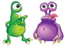 Two cartoon alien creatures Royalty Free Stock Photos