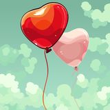 Two cartoon balloon heart flying in the sky. Two cartoon balloon heart flying in sky Royalty Free Stock Photography