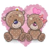 Two Cartoon Bears on a background of heart. Two Cute Cartoon Bears on a background of heart vector illustration
