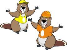 Two cartoon beavers Stock Image