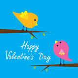 Two cartoon birds. Happy Valentines Day card. Royalty Free Stock Image