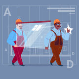 Two Cartoon Builders Carry Glass Wearing Uniform And Helmet Construction Worker Over Abstract Plan Background Male. Workman Flat Vector Illustration Stock Photo
