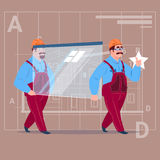 Two Cartoon Builders Carry Glass Wearing Uniform And Helmet Construction Worker Over Abstract Plan Background Male. Workman Flat Vector Illustration Royalty Free Stock Images