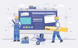 Two cartoon builders holding and carrying repair tools against computer screen on background. Concept of website under Stock Photography