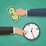 Two cartoon businessman hands cash and clocks Royalty Free Stock Photo