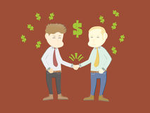 Two cartoon businessmen shake hands as a sign of a Royalty Free Stock Images