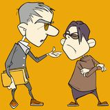 Two cartoon caricature men quarrel and sort things out. On a yellow background Stock Image
