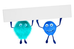 Two cartoon characters holding a signboard. Two furry male cartoon character holding a signboard over their head. 3D illustration royalty free illustration