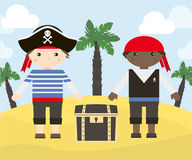 Two cartoon characters of pirates with treasure chest on the island. Vector illustration of pirates.  Stock Image