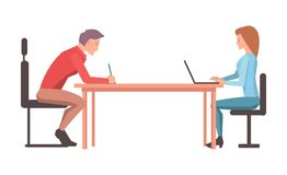 Two Character Discuss Their Project Illustration Royalty Free Stock Images