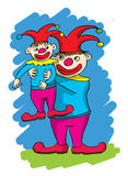Two cartoon clowns, one big one small Stock Image