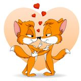 Two cartoon cute falling in love fox Stock Photos