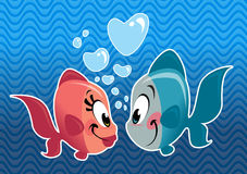 Two cartoon cute fishes couple falling in love. Cartoon cute fish couple in love with heart bubbles under the sea Royalty Free Stock Photography