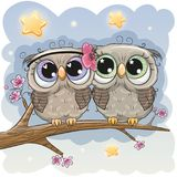 Cute Owls is sitting on a branch. Two Cartoon Cute Owls is sitting on a branch of sakura vector illustration