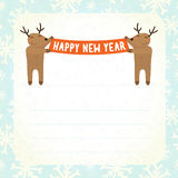 Two cartoon deers holding Happy new year banner Royalty Free Stock Image