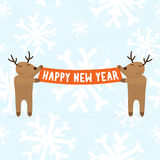 Two cartoon deers holding Happy new year sign Royalty Free Stock Photo