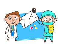 Two Cartoon Doctors Showing Message Vector Illustration Stock Photography