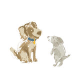 Two cartoon dog hand drawn Royalty Free Stock Photography