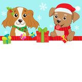 Two Cartoon Dog With Santa Hat And Space For Your Christmas Text Vector Banner. Holiday Winter Background. On The Eve. Stock Photography