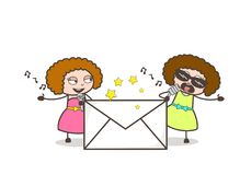 Two Cartoon Female Rock-Stars and Envelope Vector. Design Royalty Free Stock Photos