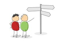 Two cartoon figures looking at a signpost Stock Image