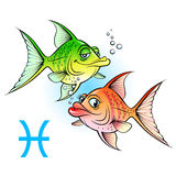 Two cartoon fish. Zodiac signs. Two cartoon fish. Illustration on white stock illustration