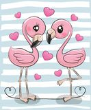 Two Cartoon Flamingos on a blue background. Two Cute Cartoon Flamingos on a blue background stock illustration