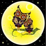 Two cartoon flat design violet owls on yellow moon background, night dark blue sky Royalty Free Stock Photos