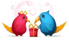 Two cartoon funny, cute bird with a large beak. Gift for girl. Royalty Free Stock Image