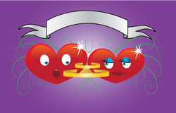 Two cartoon funny heart Stock Images