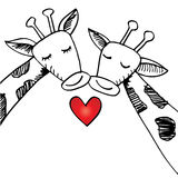 Two cartoon giraffes in love. Hand drawing illustration Royalty Free Stock Photo