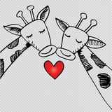 Two cartoon giraffes in love. Hand drawing illustration Royalty Free Stock Photos