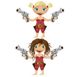Two cartoon girls, blonde and brunette, with gun Stock Photos
